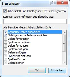 Der Blattschutz in Excel - Arbeitsblätter, Tabellen oder Zellen ...