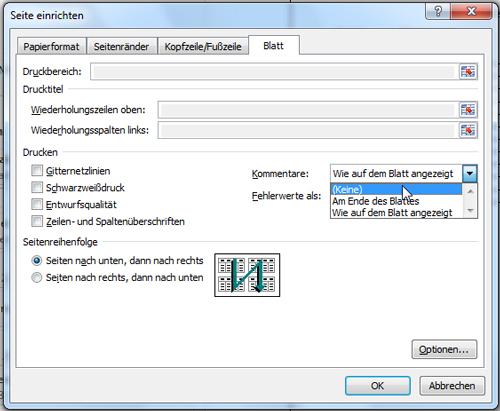 Kommentare in Microsoft Excel 2010 mit ausdrucken lassen