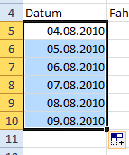 fortlaufendes datum excel